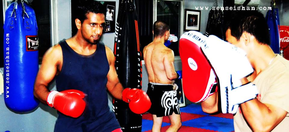 Master Shan training kickboxing in emirates karate centre Abu Dhabi