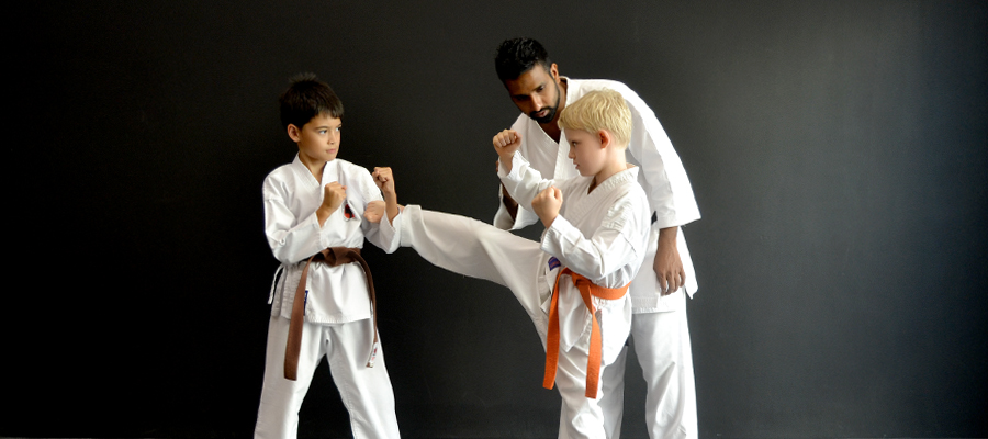 Kick at karate class