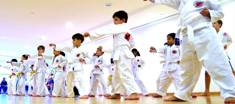 Children learning self defence through Karate
